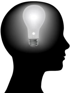 Idea Woman Mind Light Bulb in Silhouette Head